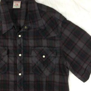 True Religion Shirts Plaid Flannel Shirt Short Sleeve Poshmark